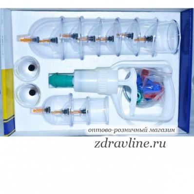 Набор вакуумных банок (вакуумный массаж, кровопускание) 12 банок